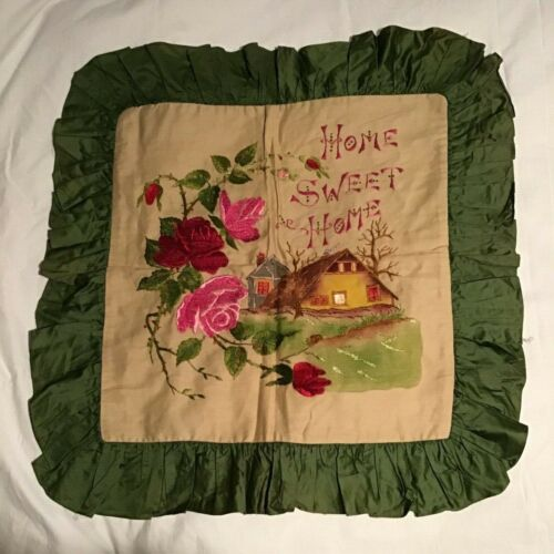 Antique Society Silk Embroidered Home Sweet Home Pillowcase with Ruffle