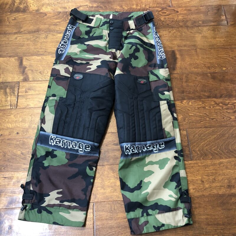 "*Karnage Mens Paintball Pants Black & Green Camo Padded Sz L /XL 32"" To 40"""