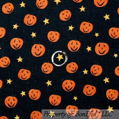 BonEful Fabric FQ Cotton Quilt Black Orange Yellow Star Pumpkin Halloween Small - Starfall Halloween
