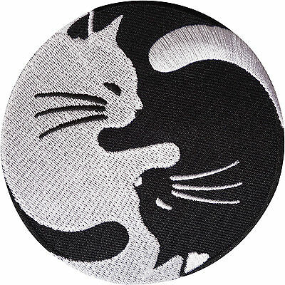 Yin and Yang Cat Patch Embroidered Badge Embroidery Applique Iron Sew On Clothes