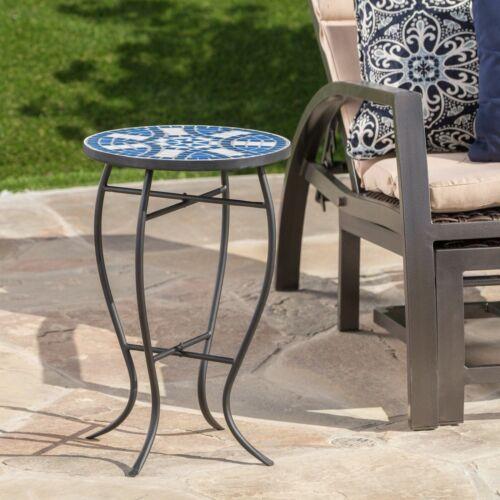 Harington Outdoor Blue & White Ceramic Tile Iron Frame Side Table Home & Garden