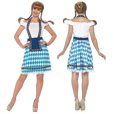 Oktoberfest Dirndel Damen Kostüm Deutsch Bayerisches Bier Mädchen Damen (Deutsch Bier Mädchen Kostüm)