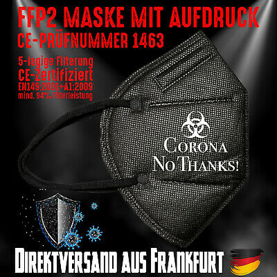 FFP2 Atemschutzmaske Mundschutz Mundmaske schwarz CE 1463 Corona No Thanks!