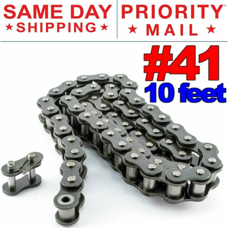 #41 Roller Chain x 10 feet + Free Connecting Links + Same Day Expedited Shipping