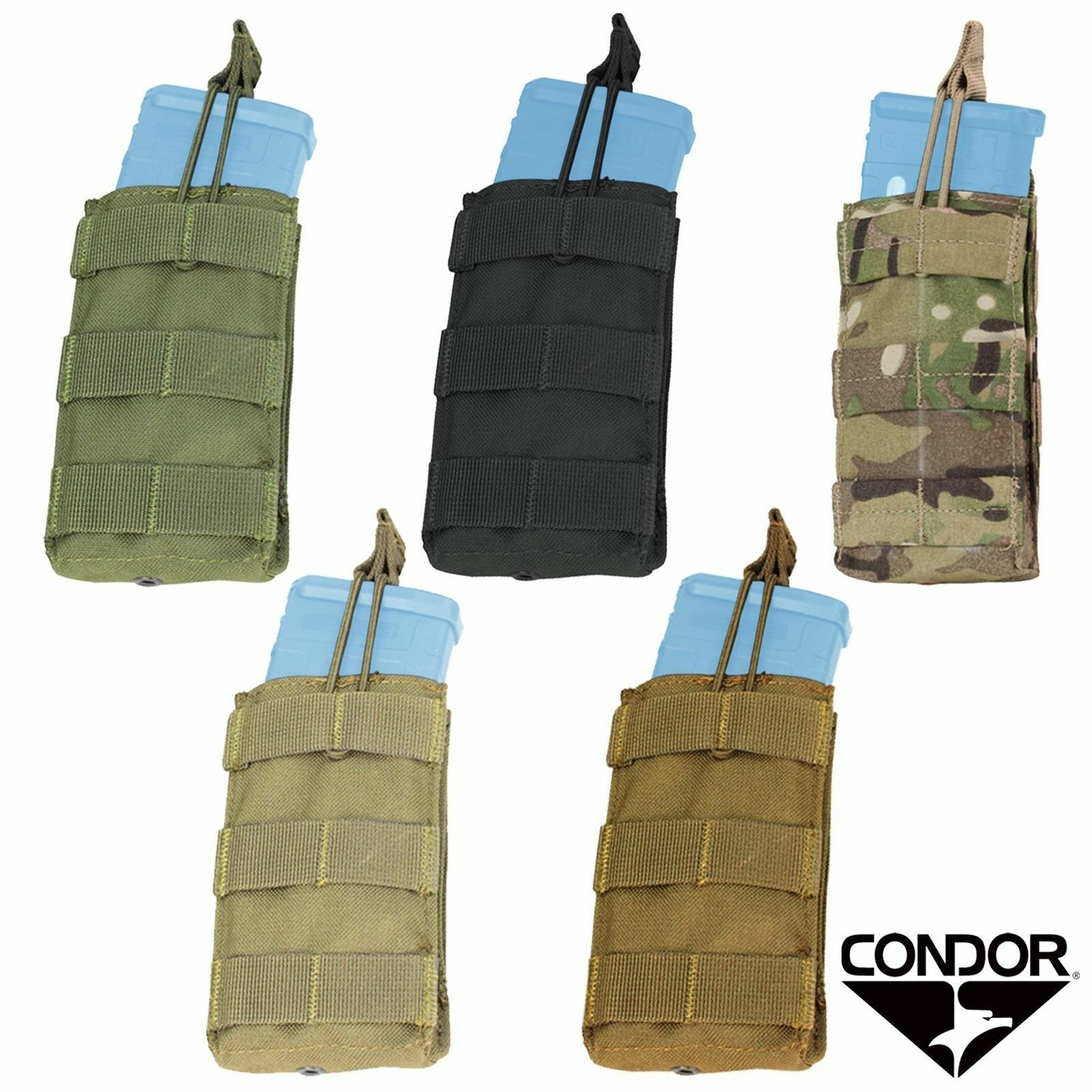 Condor MA42 MOLLE Open Top Bungee Single Stacker 5.56//.223 Rifle Magazine Pouch