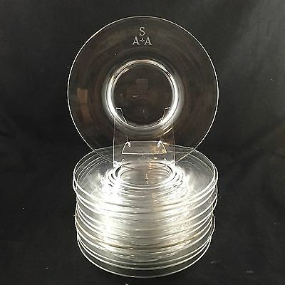 "SET 12 Antique Steuben Clear Art Glass  8-1/2"" Plates"