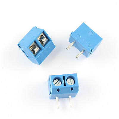 100pcs Blue 5mm Pitch 2 Pin 2 Way Pcb Right Angle Screw Terminal Block Connector