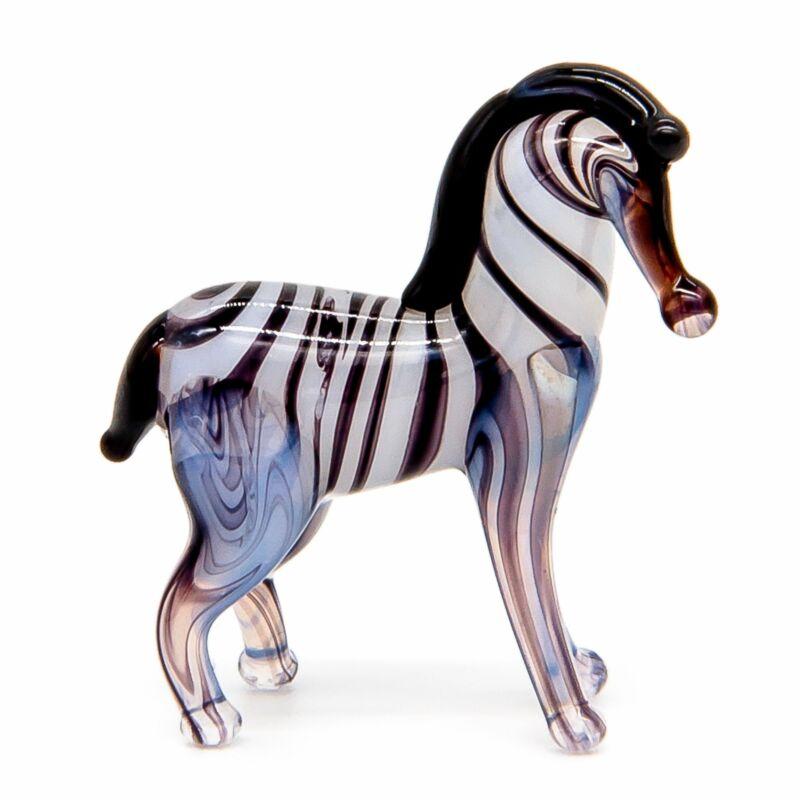 "Tiny 1"" Glass Zebra Wild Animal Miniature Figurine, Hand Blown Art Glass"