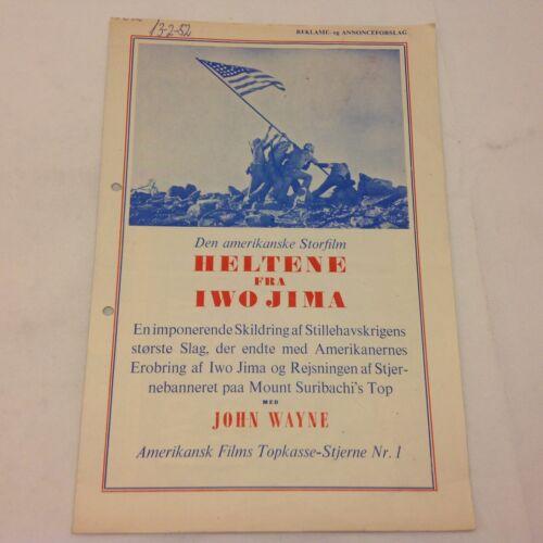 Sands of Iwo Jima John Wayne John Agar Mara Vtg 1949 Danish Movie Press Release