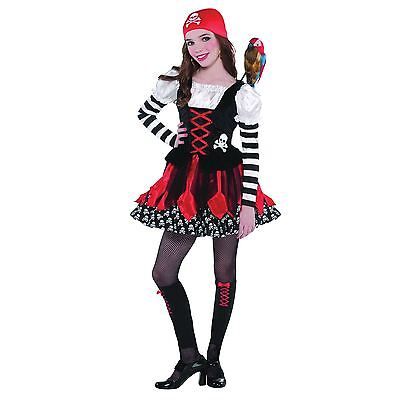 Kinder Rot Piraten Mädchen Kostüm Outfit Karibik Kinder Mädchen (Mädchen Piraten Outfit)