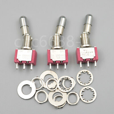 3pcs T8013-lk 3 Pins On-on 2position Mini Locking Lever Toggle Switch Spdt