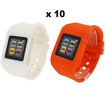 Rubz White Orange Watch Band Case Cover for Apple iPod Nano 6th Gen 10 Packs of2