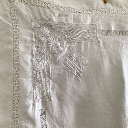 Pair Fabulous Hand Embroidered Antique French Linen Pillow Shams Dragon Mono DC