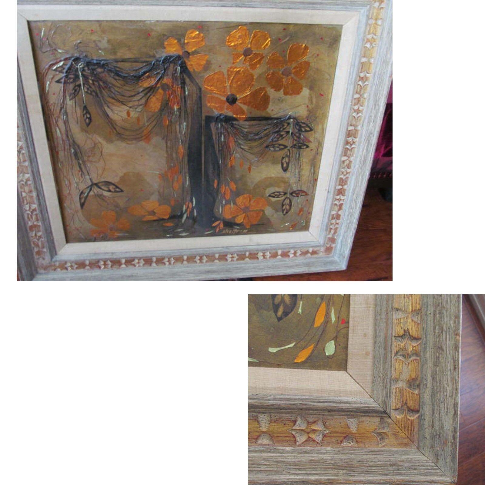Wonderful Mid Century Mixed Media Painting Signed SHELTREY Abstract Art  - $250.00