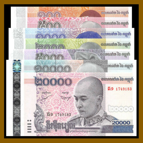 Cambodia 100 - 20000 Riels (7 Pcs Set), 2008-2016 Unc