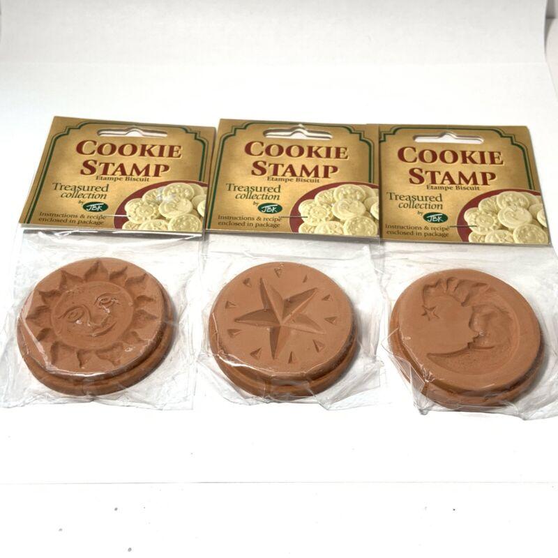 "NEW 3 Piece CELESTIAL THEME Cookie Stamp LOT Sun Moon Star CERAMIC JBK 2.33"""