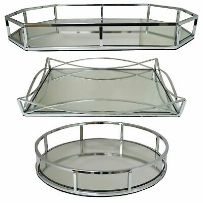 New Decorative Metal  Rectangle/Circle Serving Trays With Mirror Bases