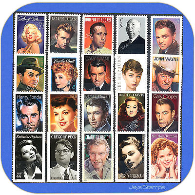 LEGENDS OF HOLLYWOOD  Series TRUE Complete Set of 20 MINT Stamps with BONUS