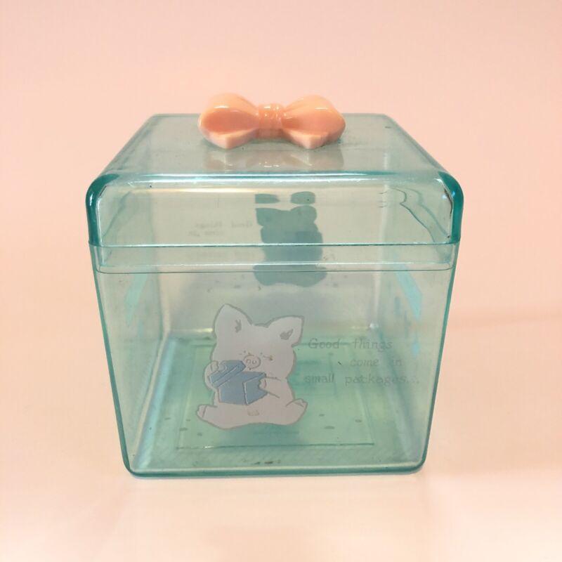 Vintage Sanrio 1989 Zashikibuta Square Trinket Bow Box