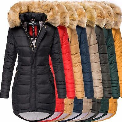 Navahoo PAPAYA Damen Winter Jacke Steppjacke Mantel Parka Kapuze Warm Gefüttert  ()