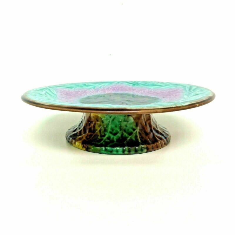 Antique Majolica Cake Plate Serving Stand Seaweed Shell Motif