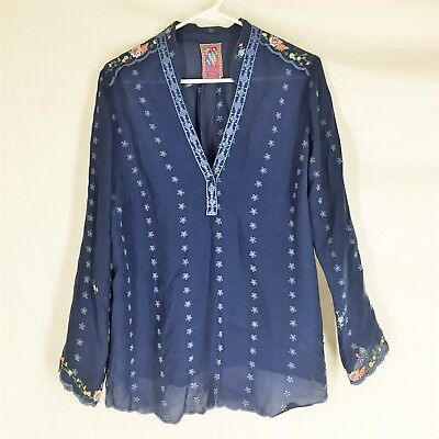 Johnny Was Blue Blouse Top Floral Boho Hippie Size Medium Rayon Embroidered
