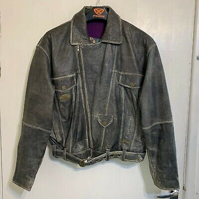VINTAGE 80's DISTRESSED LEATHER BRANDO MOTORCYCLE JACKET SIZE 50""