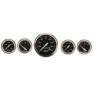 Speedway Complete Black 5 Gauge Set w/ Speedo, Volt, Fuel Temp & Oil Pressure