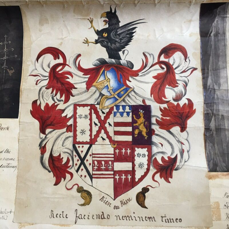 Antique Illuminated Heraldry Pedigree Charlemagne Marbury Royalty Scott 19th c
