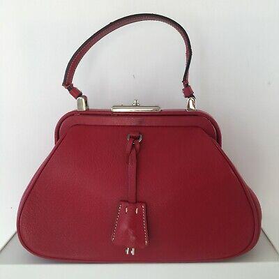 "PRADA Vintage Red Structured Leather Handbag w/ clasp close 10.5""w x 5""h x 4.5""d"