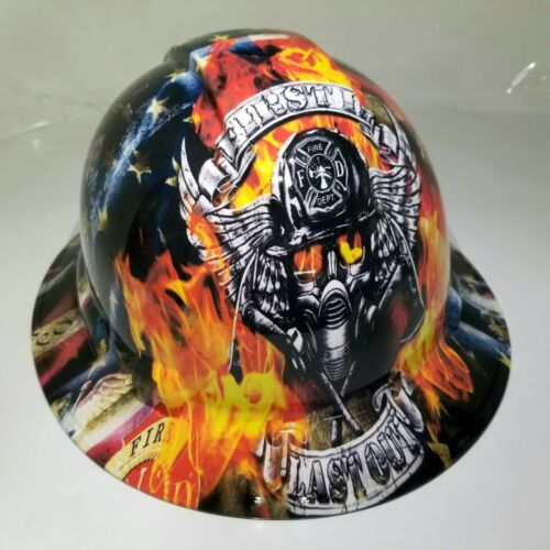 NEW FULL BRIM Hard Hat custom hydro dipped in , FIREFIGHTER FIRST IN , LAST OUT 4
