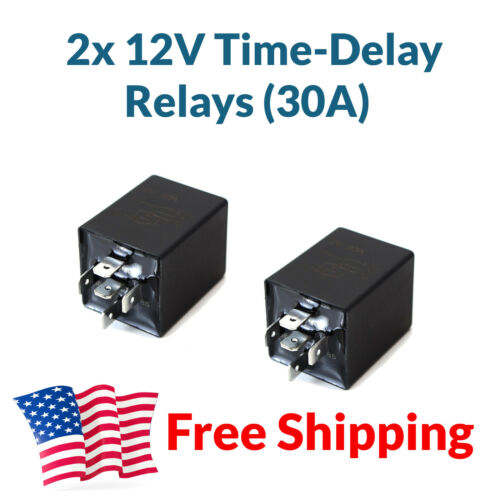 2pcs 12V 30A Automotive 10s Time Delay Relay Module SPDT Relays Switch Glow Plug