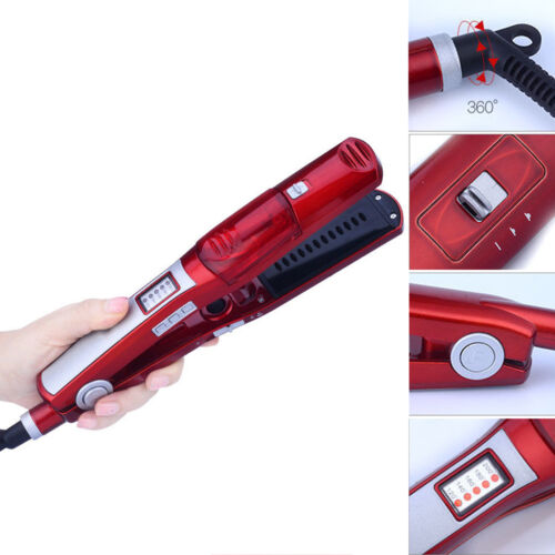 Professional Ceramic Vapor Steam Hair Straightener Brush Fla