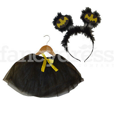 Girls Bat Girl Super Hero Dressing Up Set Tutu Head Boppers Fancy Dress Up NEW ()
