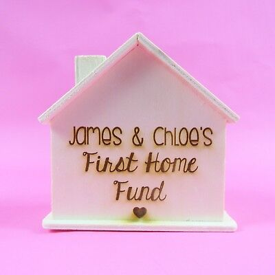 Wooden House Personalised Money Box First Home Fund Housewarming gift New Home