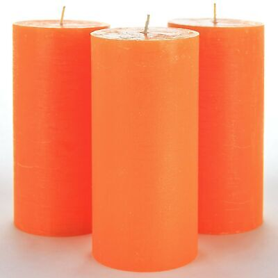 "Set of 3 Orange Pillar Candles 3"" x 6"" Unscented for Wedding"