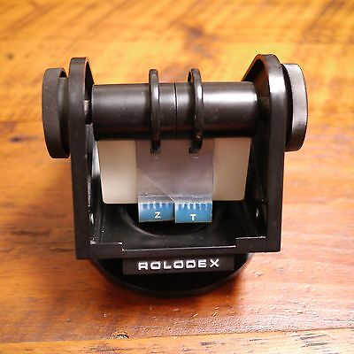 Vintage Rolodex Model Sw-24 Black Faux Wood Grain Telephone Directory