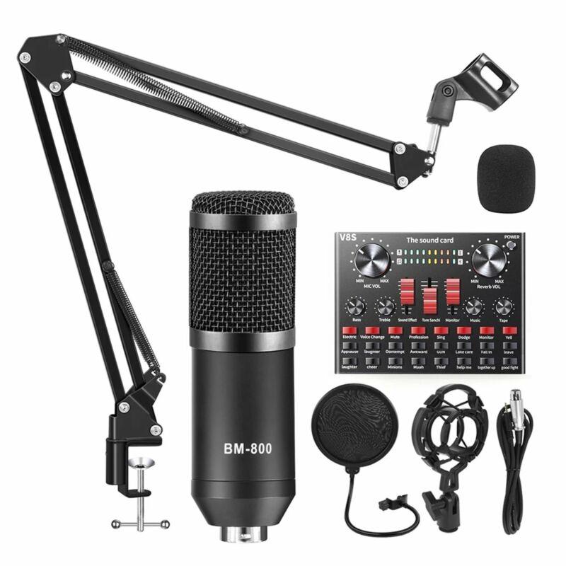 3 Type BM800 Condenser Microphone Kit Studio Pop Filter Boom Scissor Arm Rack