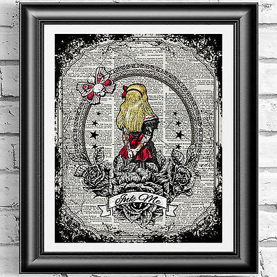 ART PRINT ON ORIGINAL ANTIQUE BOOK PAGE Tattoo Alice in Wonderland Dictionary