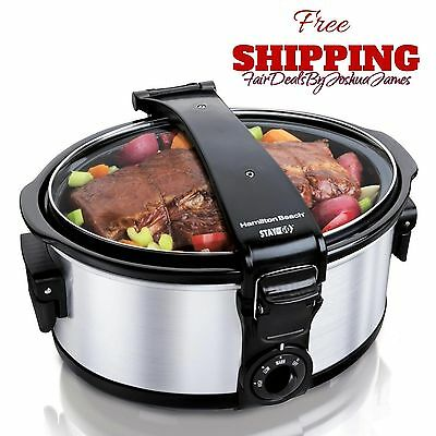 CrockPot Hamilton Beach Slow Cooker Oval 6 Quart Stainless Steel Crock-Pot NEW