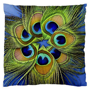 Blue peacock feather circle home decor bed lounge cushion for Peacock feather decorations home