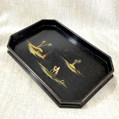 Antique Art Deco Wooden Tray Hand Painted Ebony Wood Egyptian Landscape Egypt