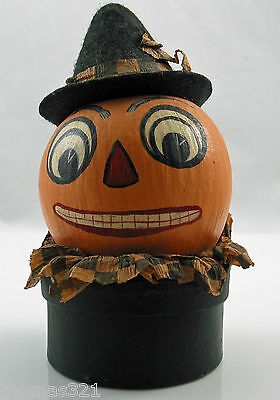 Halloween Paper Mache Hand Painted Candy Container Decoration Jack German Style - German Paper Mache Halloween