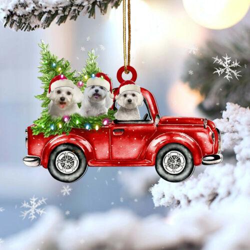 Maltese red car gift for maltese lover gift for dog mom ornament