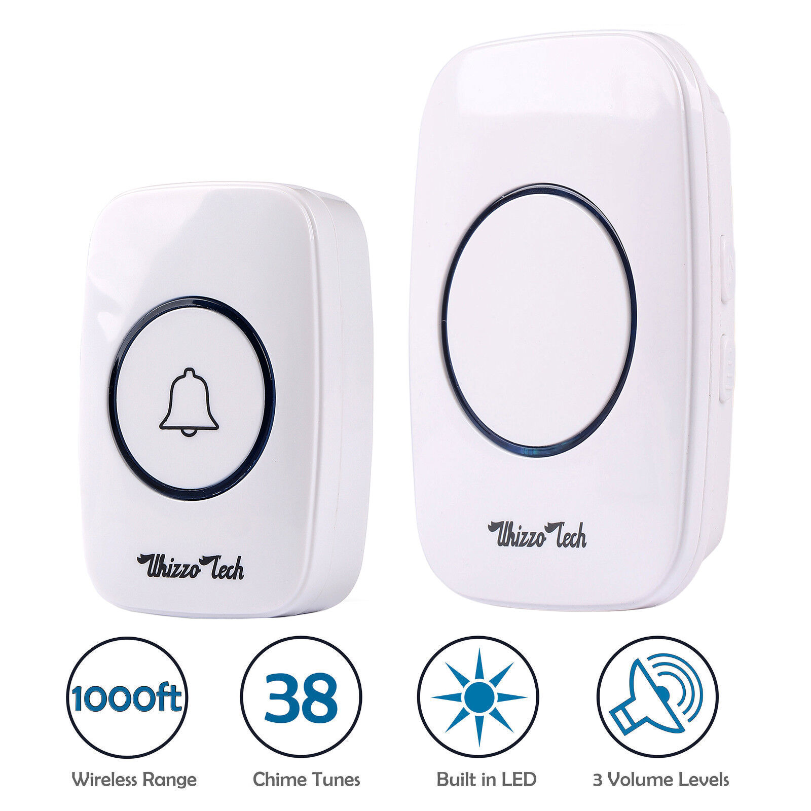 Wireless Doorbell Battery Operated Remote Button Transmitter+Plug in Receiver Building & Hardware