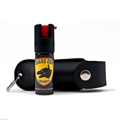 BLACK Leather case Pepper Spray STRONGEST By LAW and EBAY 18% OC key chain case