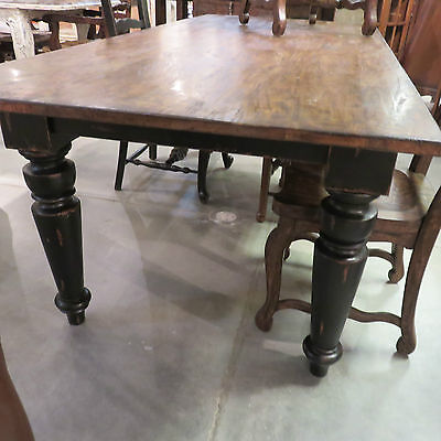 "84"" Farmhouse Leg Dining Table Black Distressed Reclaimed Wood ..."