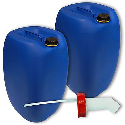 2er SET Leerkanister Getränkebehälter 60 L DIN 61 blau Zubehör  Schnellausgießer