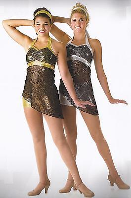Gold Silver Lyrical Jazz Tap Dance Costume Double Flash Child & Adult XL