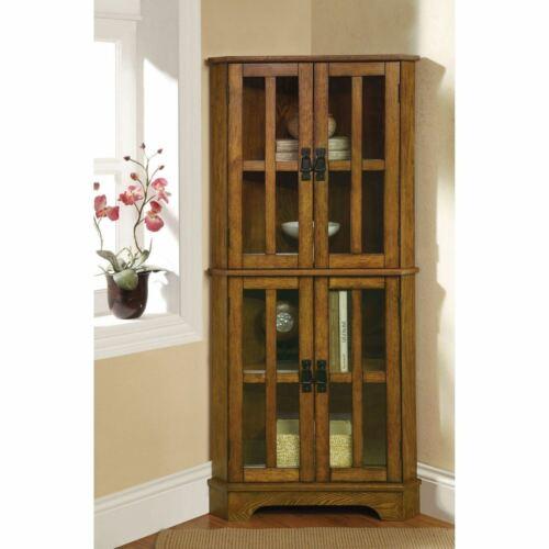 Oak Finish Wooden Corner Curio Cabinet Glass Doors Display S